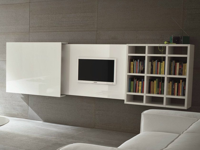 wall mounted retractable tv cabinet slim 10 by dall agnese design imago design. Black Bedroom Furniture Sets. Home Design Ideas