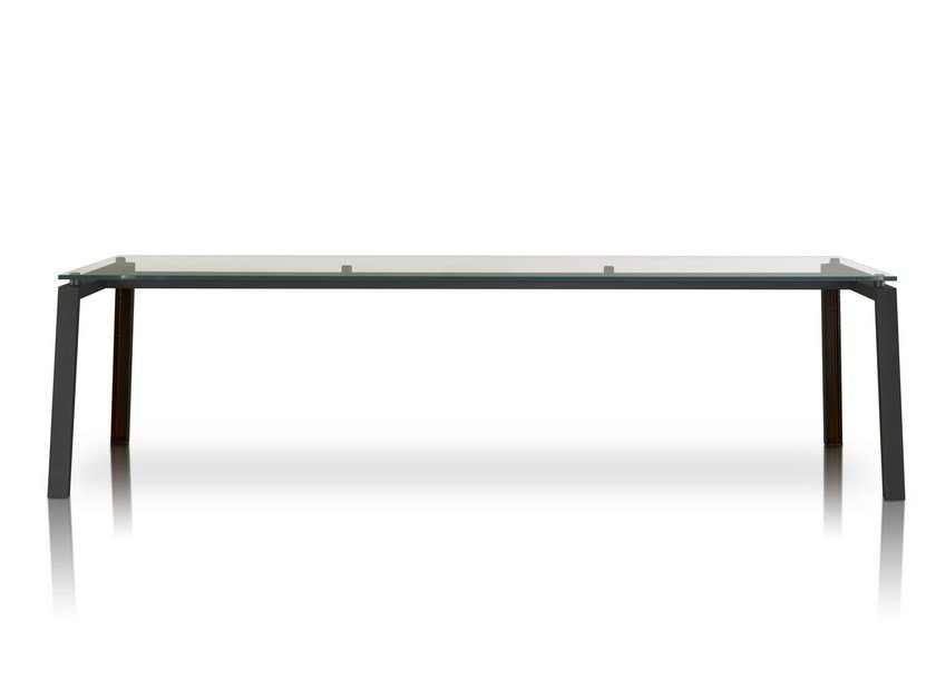 Rectangular glass and iron table IPE by Porro