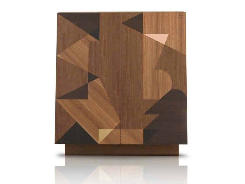 Wooden highboard with doors SCHERMO by Porro