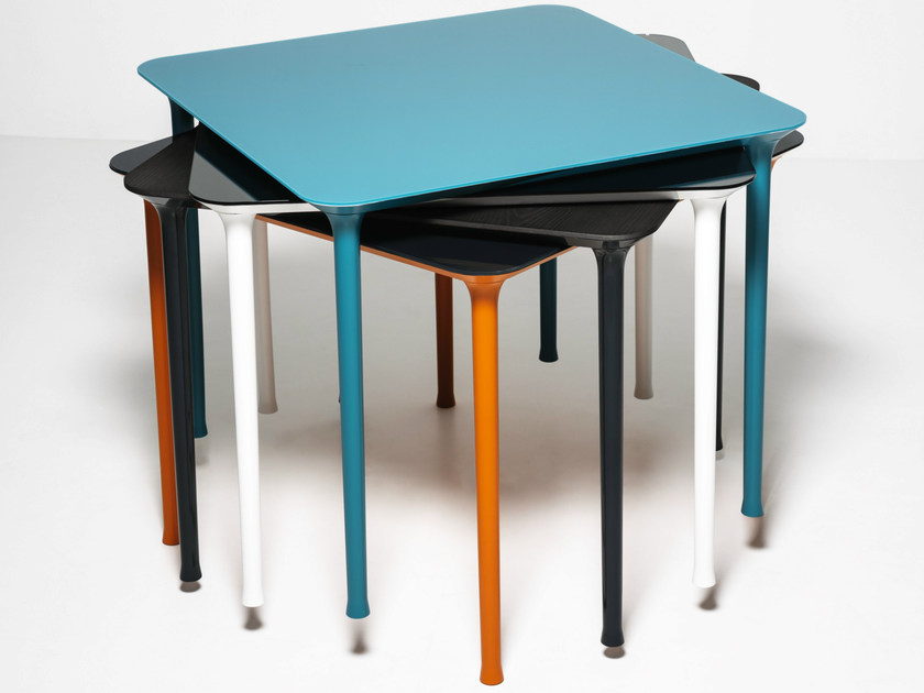 Stackable square die cast aluminium table SPINDLE   Square table by Tacchini