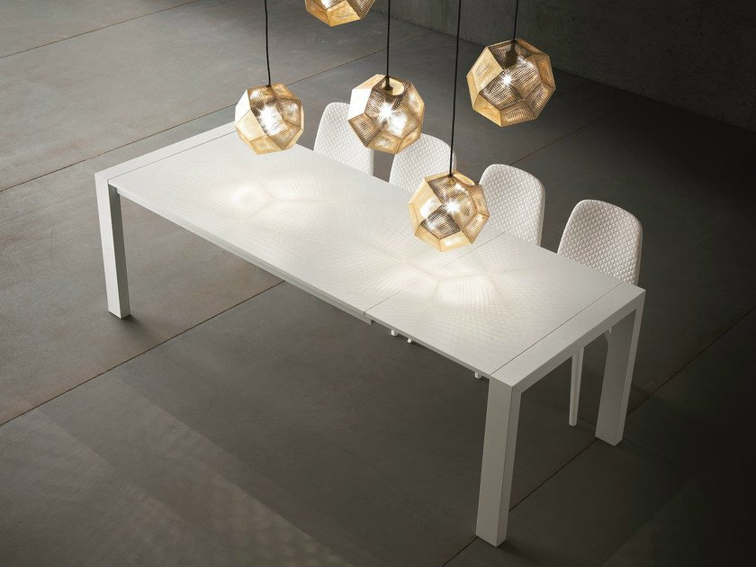 Extending lacquered rectangular table RUBINO | Lacquered table by Dall'Agnese