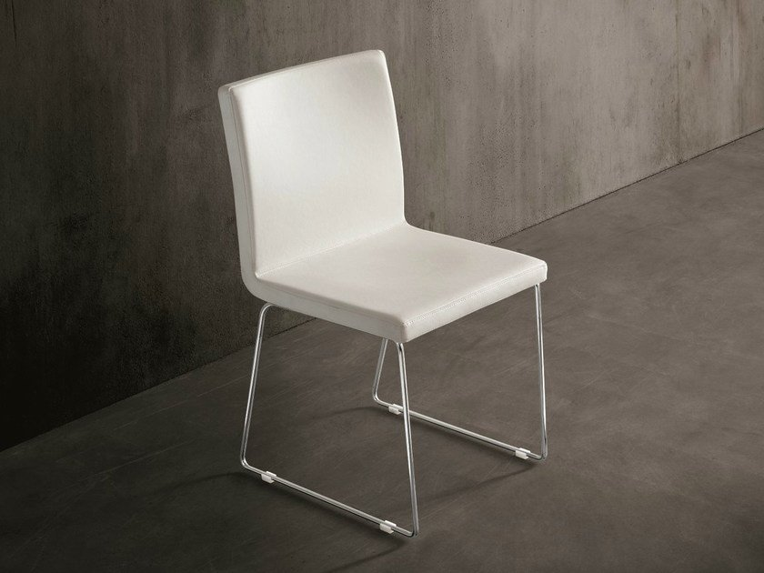 Sled base imitation leather chair GILDA by Dall'Agnese