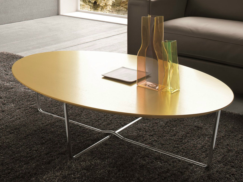 Lacquered oval coffee table for living room GIGLIO by Dall'Agnese