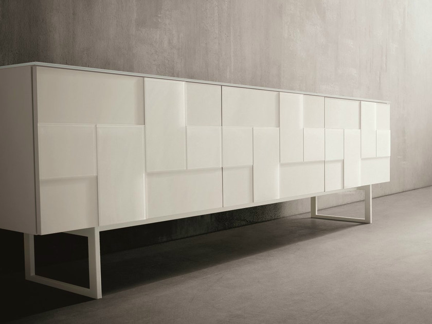 Lacquered glass sideboard with doors GLASS | Glass sideboard by Dall'Agnese