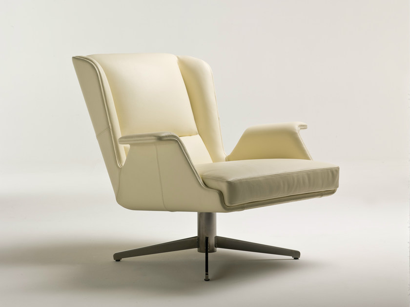 Leather armchair with 4-spoke base GARBO | Leather armchair by i 4 Mariani