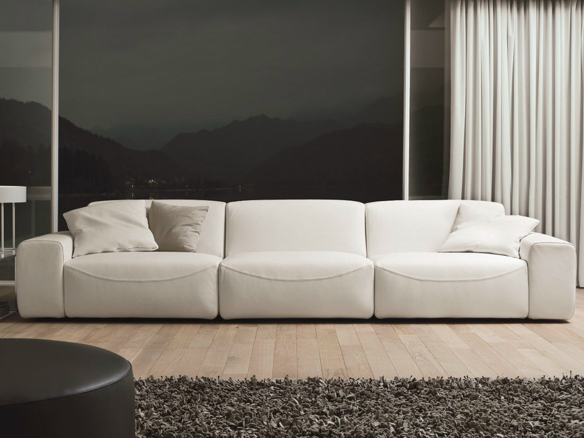Sectional 3 seater leather sofa DOMINO   Leather sofa by Dall'Agnese