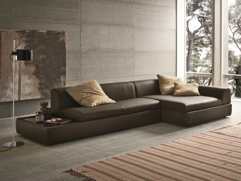 Corner leather sofa with integrated magazine rack MONITOR by Dall'Agnese