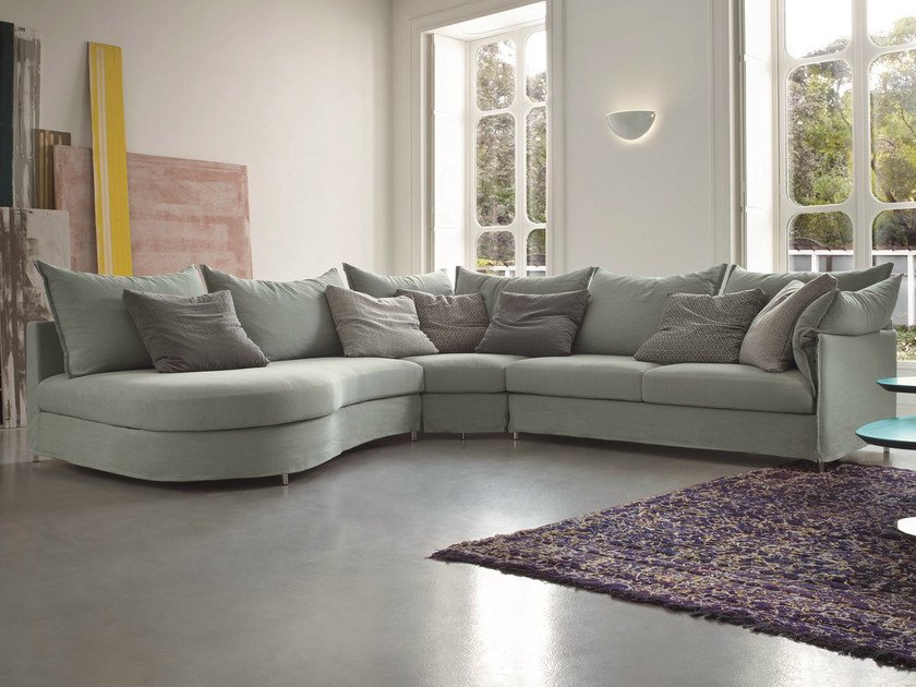 Corner fabric sofa with removable cover EVERY   Corner sofa by Dall'Agnese