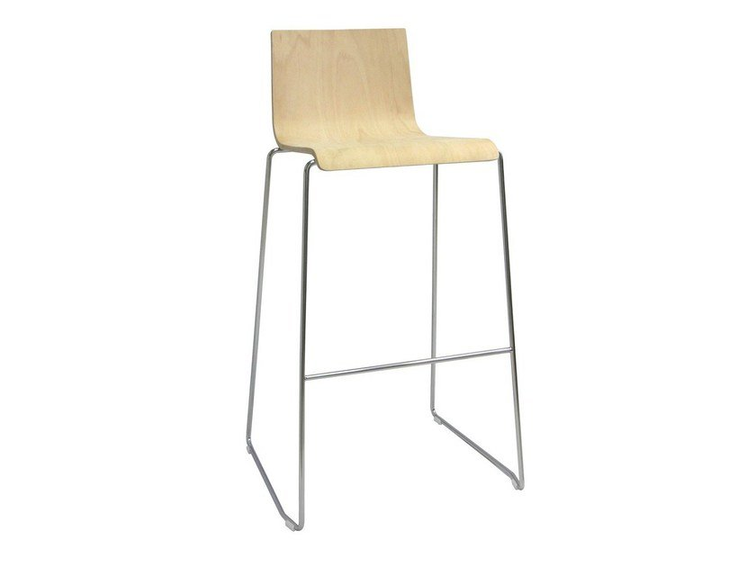 High wooden barstool with footrest SGAB-BARON-F-V by Vela Arredamenti