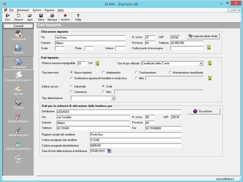 CAD-integrated building services calculation software EC744 DICHIAR. DI CONF. E SCHEMI by EDILCLIMA