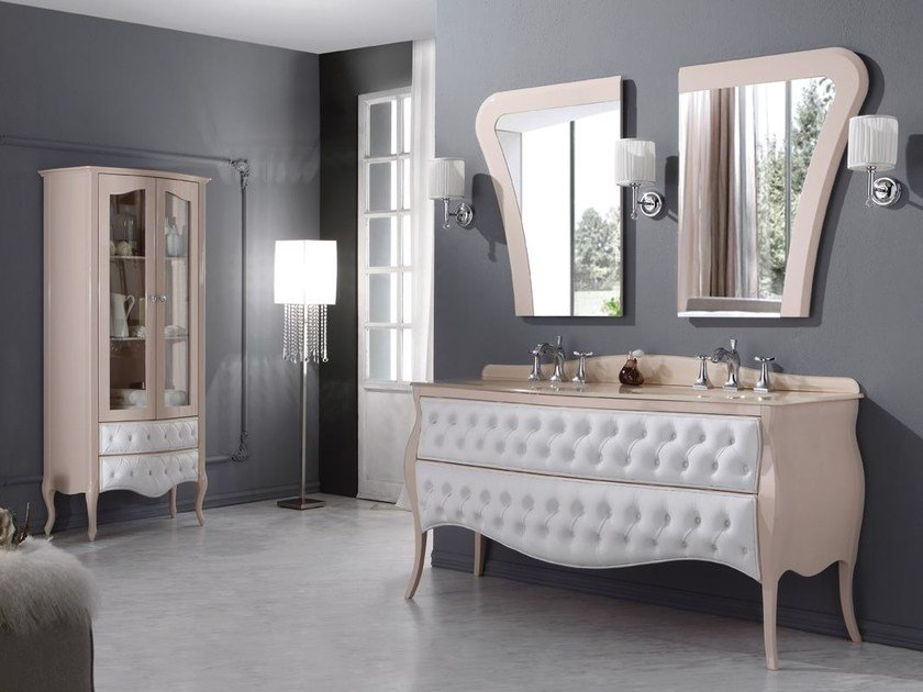 Tufted double vanity unit with drawers VANITY DUETTO 01 by LEGNOBAGNO