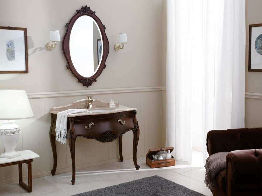 Lacquered vanity unit with drawers VANITY INTAGLIATO 02 by LEGNOBAGNO