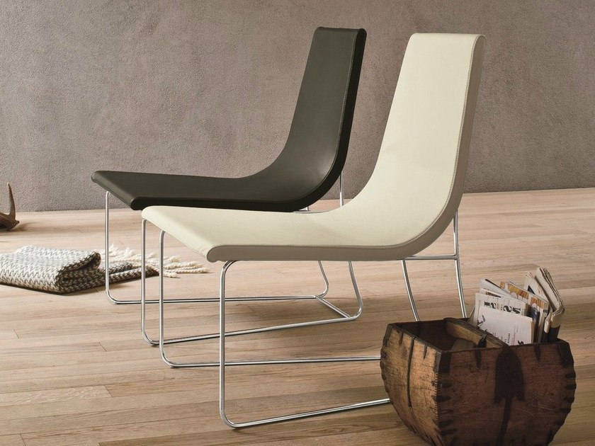 Sled base leather easy chair SMILE by Dall'Agnese