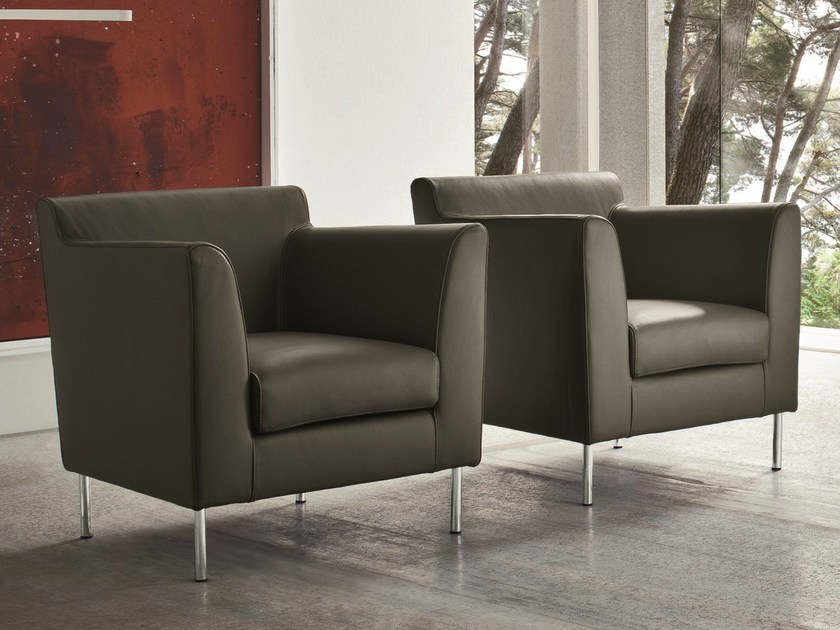 Leather armchair with armrests OMNIBUS by Dall'Agnese