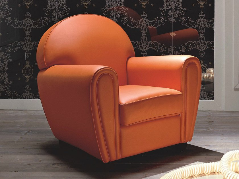 Leather armchair with armrests MEMORY   Leather armchair by Dall'Agnese