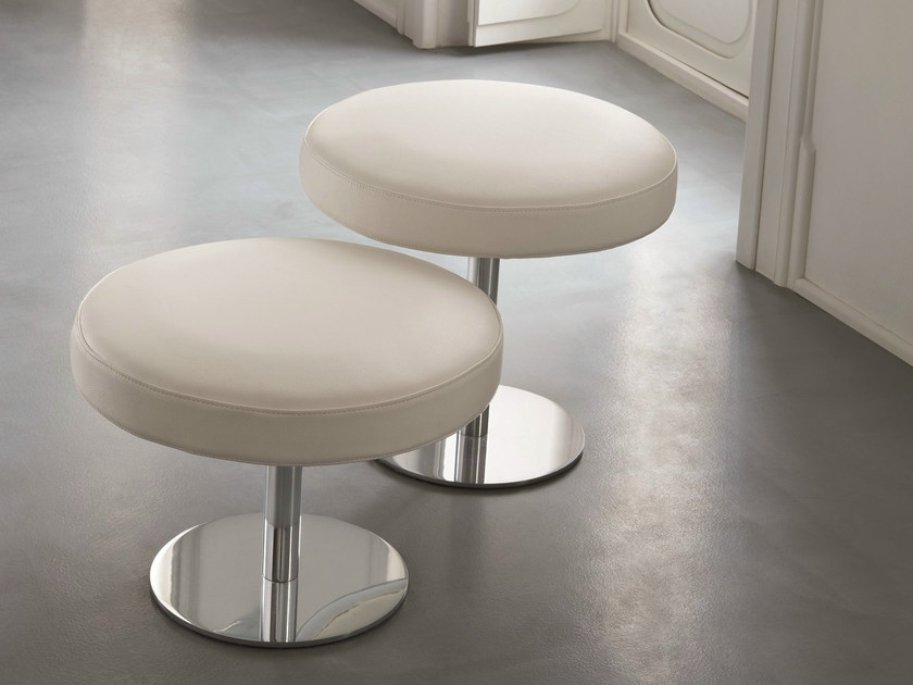 Low upholstered leather stool TORRE by Dall'Agnese