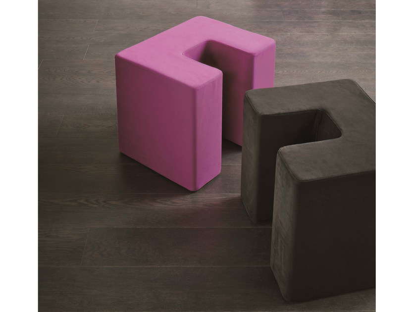 Upholstered fabric pouf SQUARE TWIN by Dall'Agnese