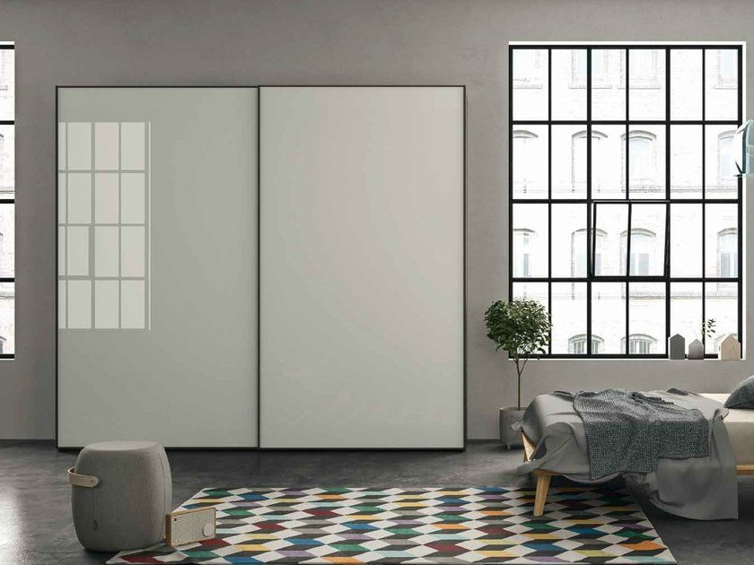 Glass wardrobe with sliding doors EMOTION 24 by Dall'Agnese