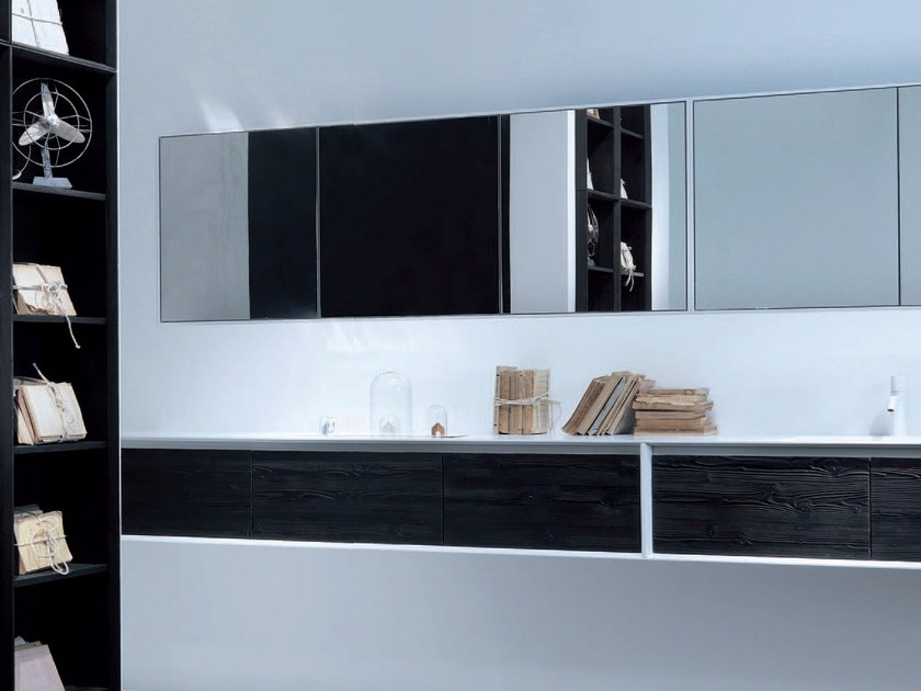Double wall-mounted wooden vanity unit with drawers SHAPE EVO + SPECIAL WOOD by FALPER