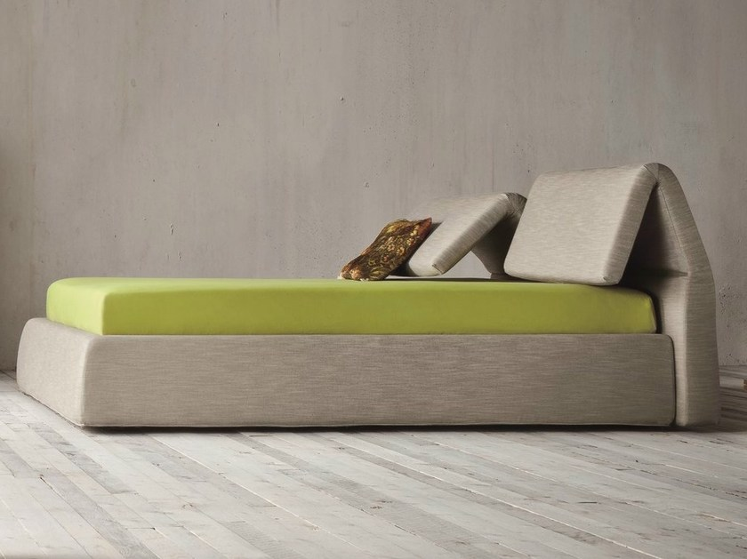 Upholstered double bed with adjustable headrest PLIA | Bed with adjustable headrest by Dall'Agnese