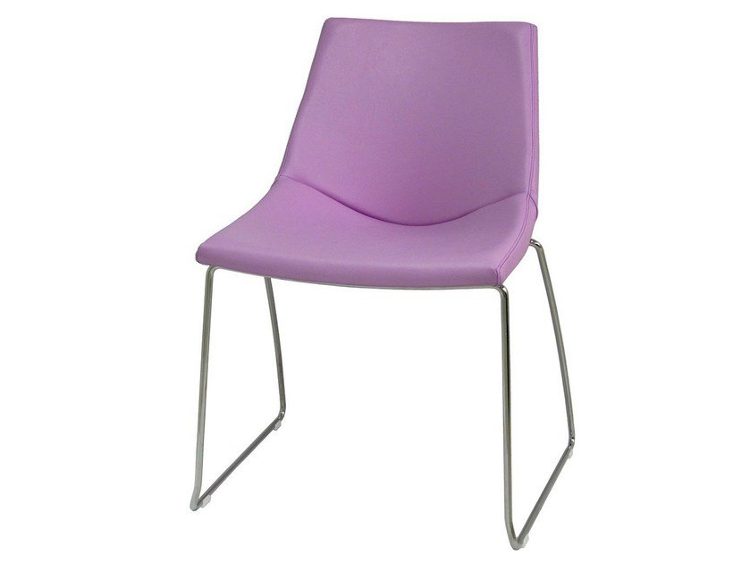 Sled base imitation leather garden chair with fire retardant padding PL-EUR-F by Vela Arredamenti