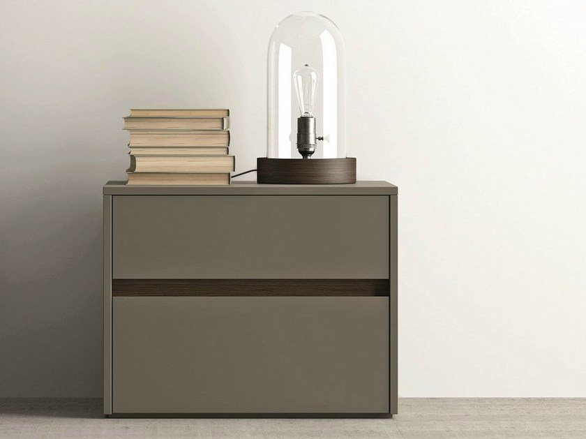 Lacquered bedside table with drawers ZIP | Bedside table by Dall'Agnese