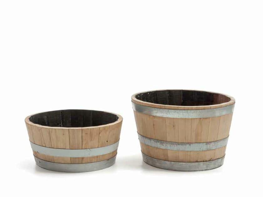 Low wooden garden vase CATÌ   Low garden vase by Minacciolo