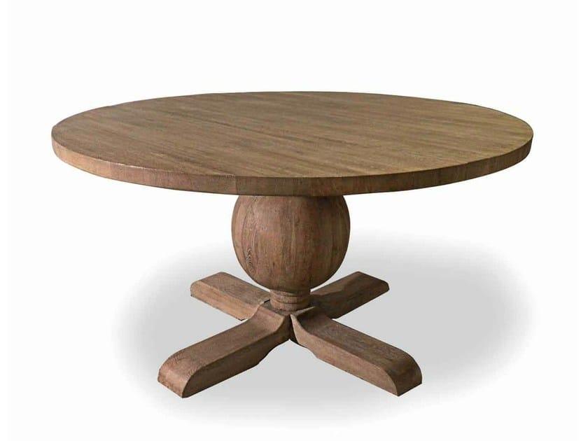 Round oak table MAPPAMONDO by Minacciolo