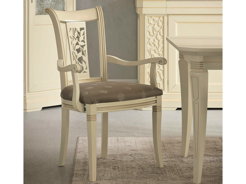 Upholstered lacquered chair with armrests TIFFANY | Chair with armrests by Dall'Agnese