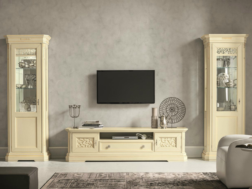 Sectional lacquered TV wall system TIFFANY | Lacquered storage wall by Dall'Agnese