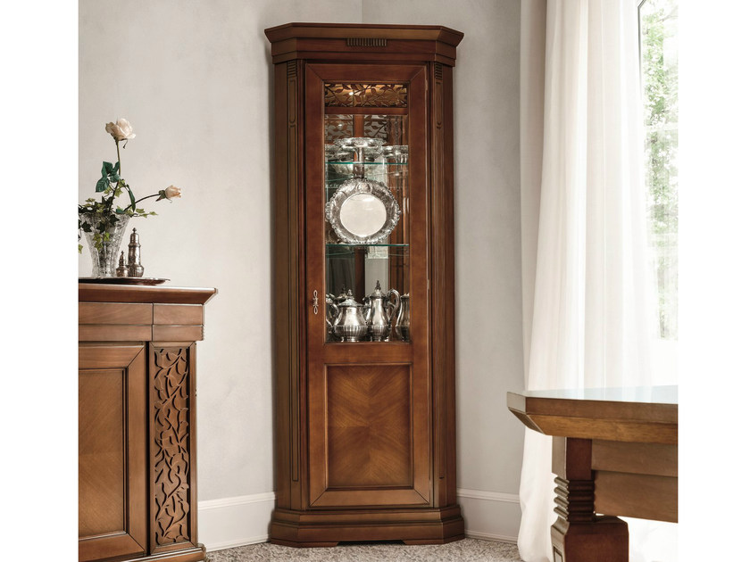 Walnut corner display cabinet TIFFANY | Corner display cabinet by Dall'Agnese