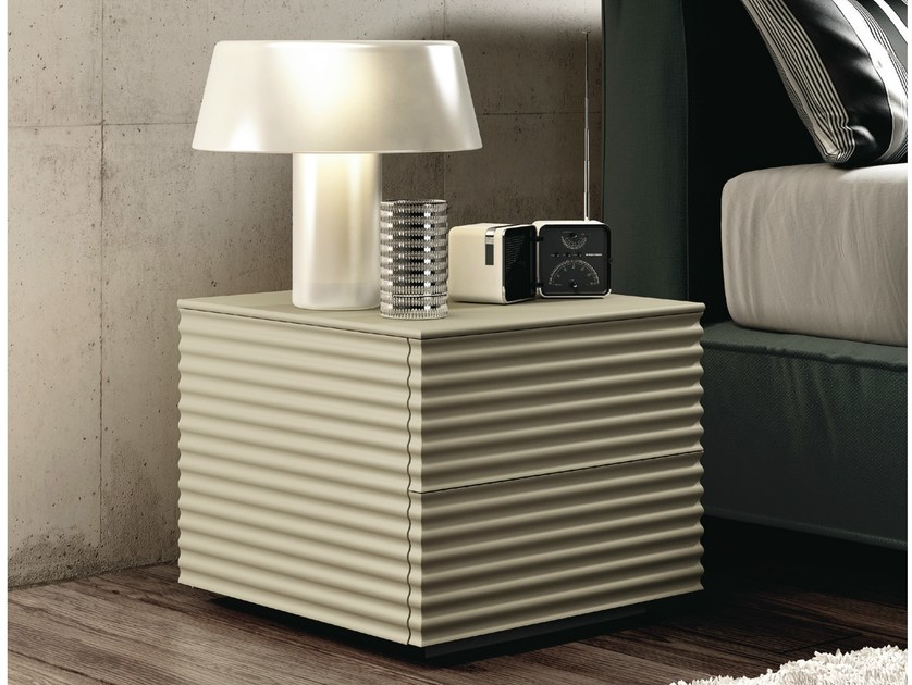 Lacquered bedside table with drawers OLA   Bedside table by RIFLESSI