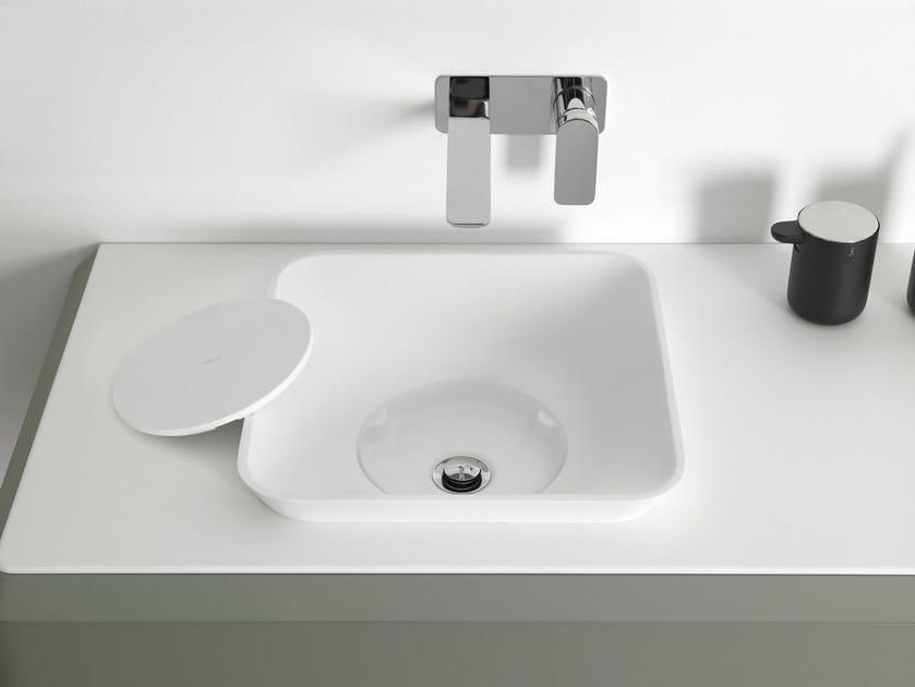 Square Cristalplant® washbasin FLUENT | Semi-inset washbasin by INBANI