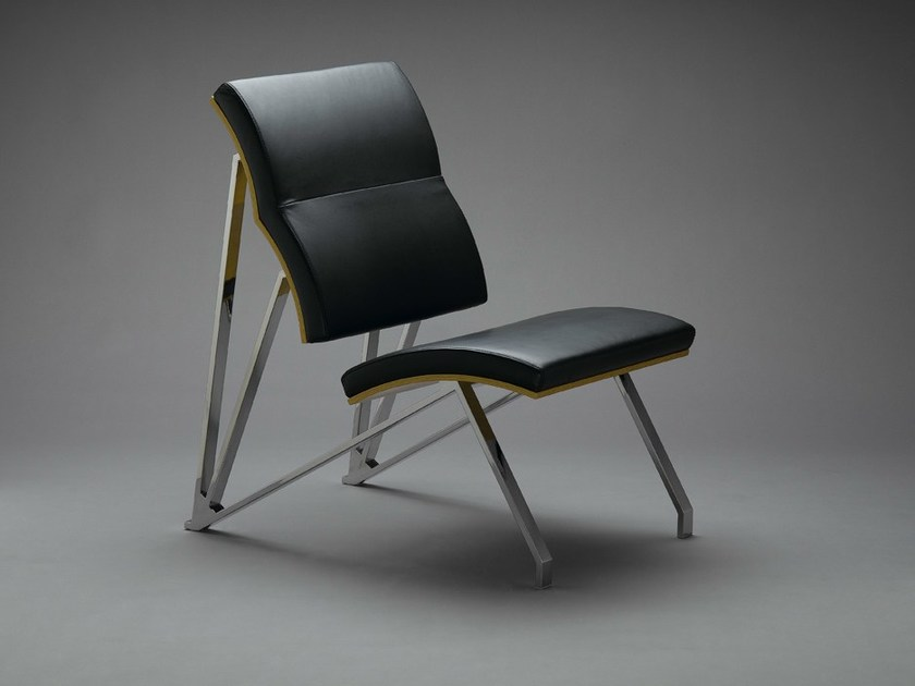 Upholstered leather easy chair IN-YPSILON by mminterier