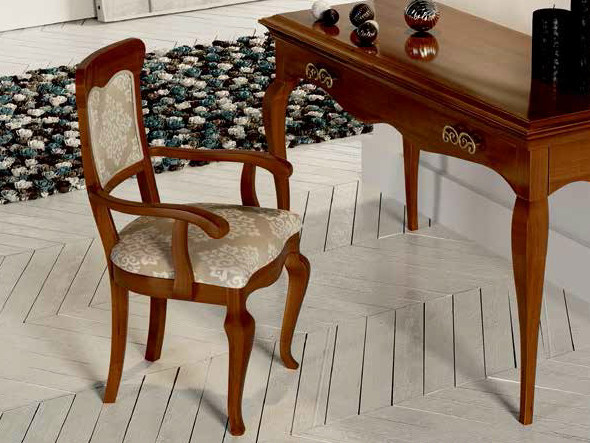Upholstered walnut chair with armrests SYMFONIA | Chair with armrests by Dall'Agnese