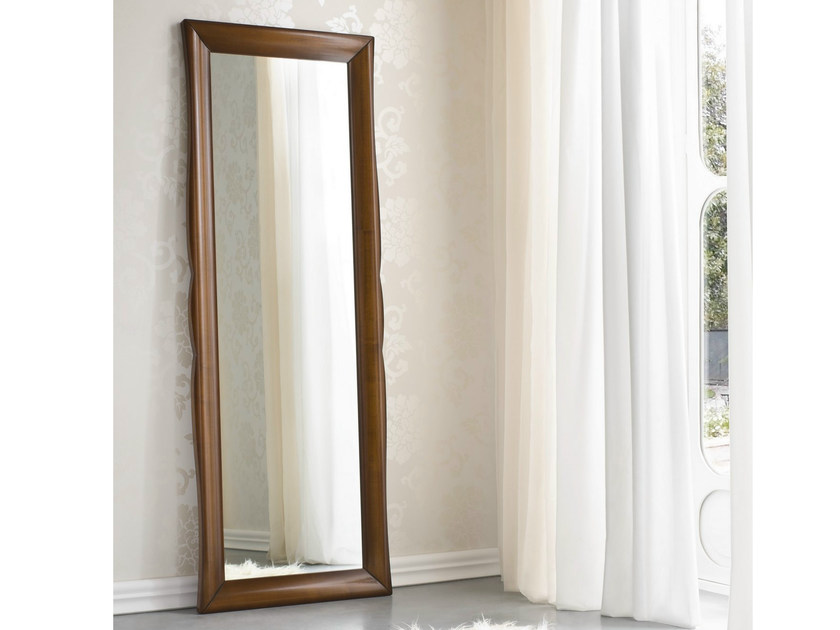 Rectangular framed walnut mirror SYMFONIA | Mirror by Dall'Agnese