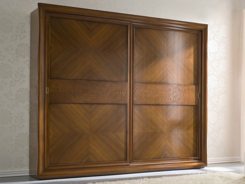 Walnut wardrobe with sliding doors SYMFONIA | Walnut wardrobe by Dall'Agnese