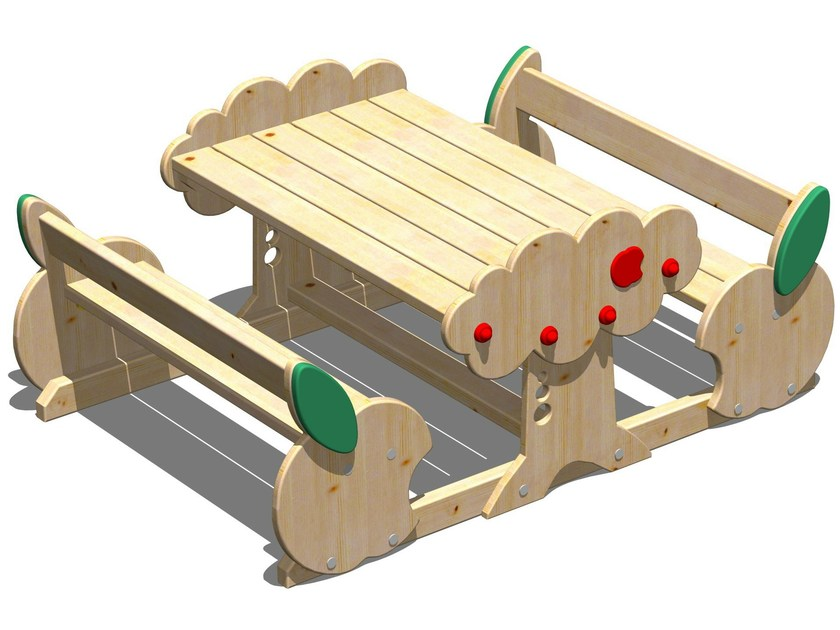 Wooden picnic table with integrated benches MELA | Picnic table with integrated benches by Legnolandia