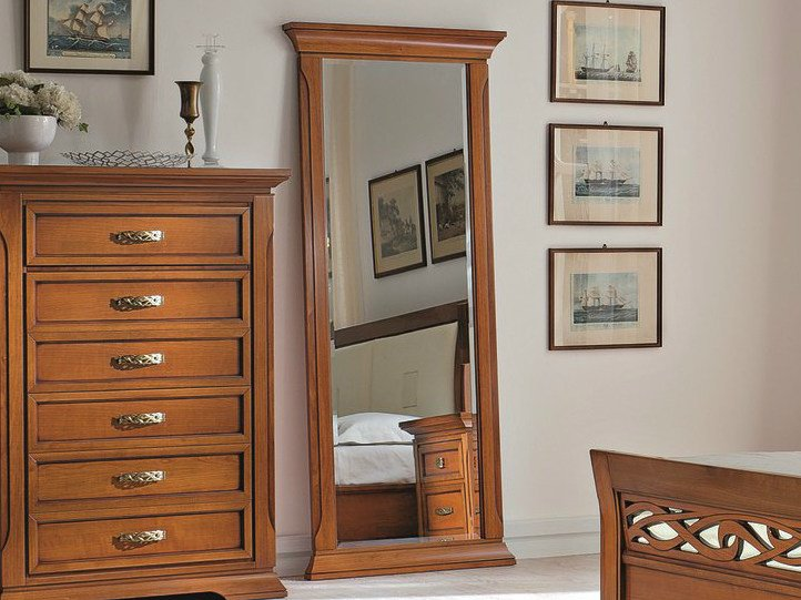 Framed cherry wood mirror BOHEMIA | Mirror by Dall'Agnese