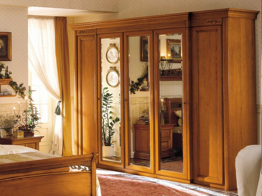 Mirrored cherry wood wardrobe CHOPIN | Mirrored wardrobe by Dall'Agnese
