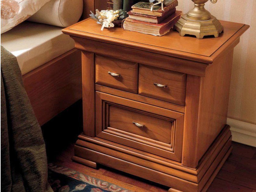 Cherry wood bedside table with drawers CHOPIN | Bedside table by Dall'Agnese