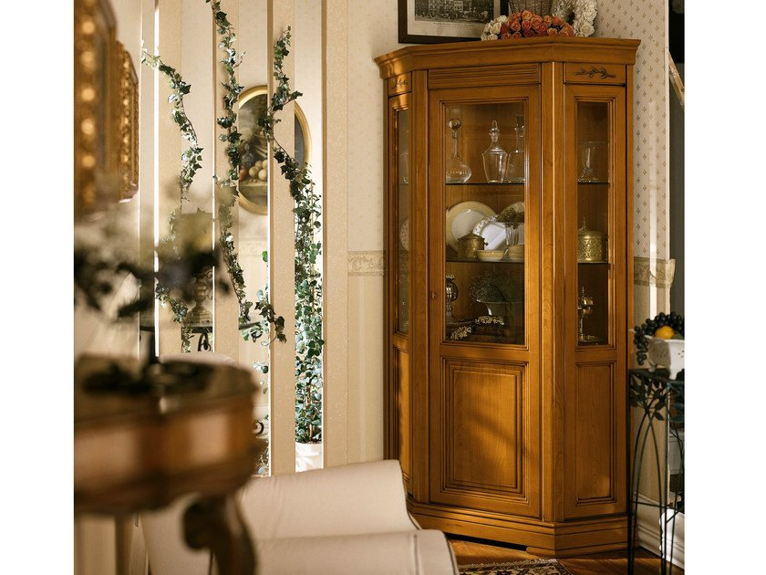 Cherry wood corner display cabinet CHOPIN | Corner display cabinet by Dall'Agnese
