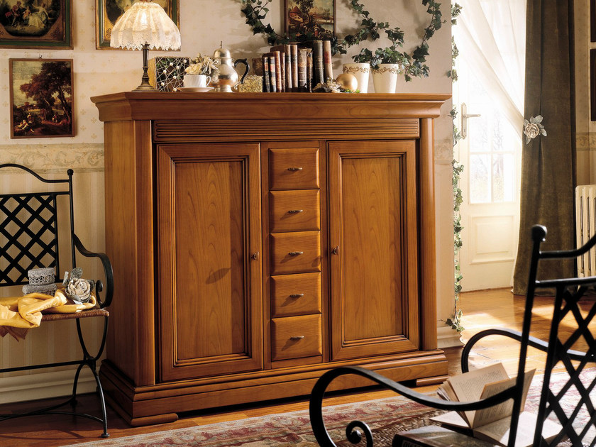 Cherry wood highboard with drawers CHOPIN | Highboard with drawers by Dall'Agnese