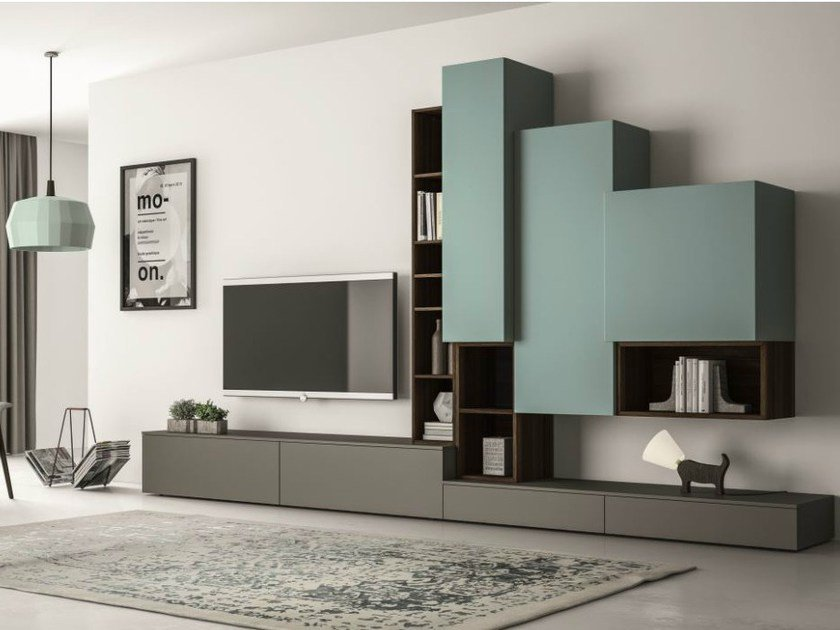 Sectional lacquered TV wall system SLIM 87 by Dall'Agnese