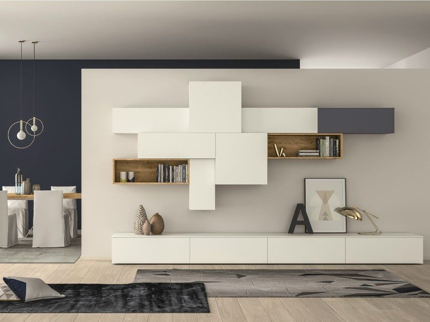 Sectional lacquered storage wall SLIM 88 by Dall'Agnese