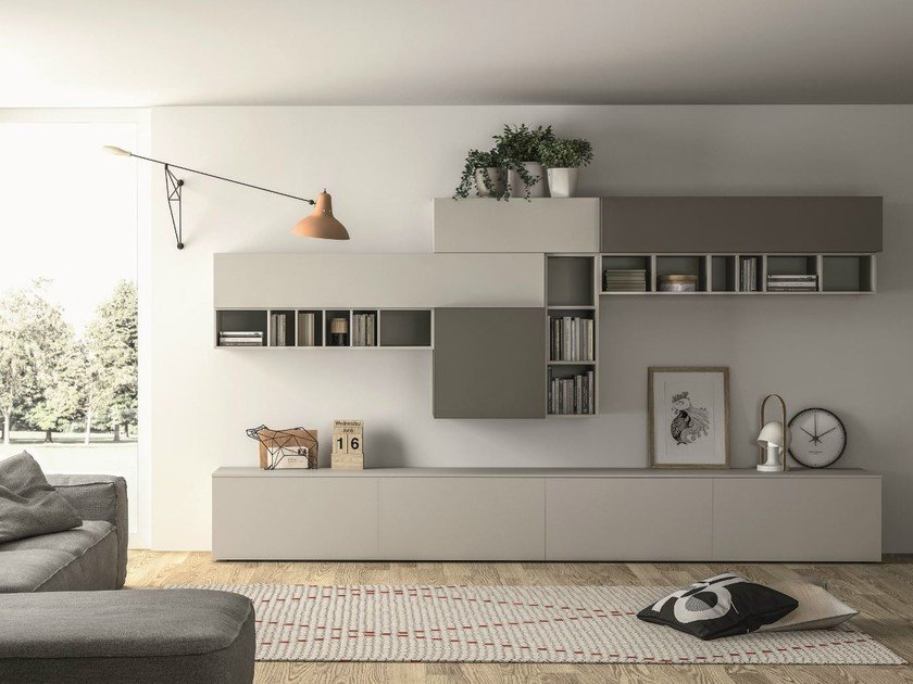 Sectional lacquered storage wall SLIM 89 by Dall'Agnese