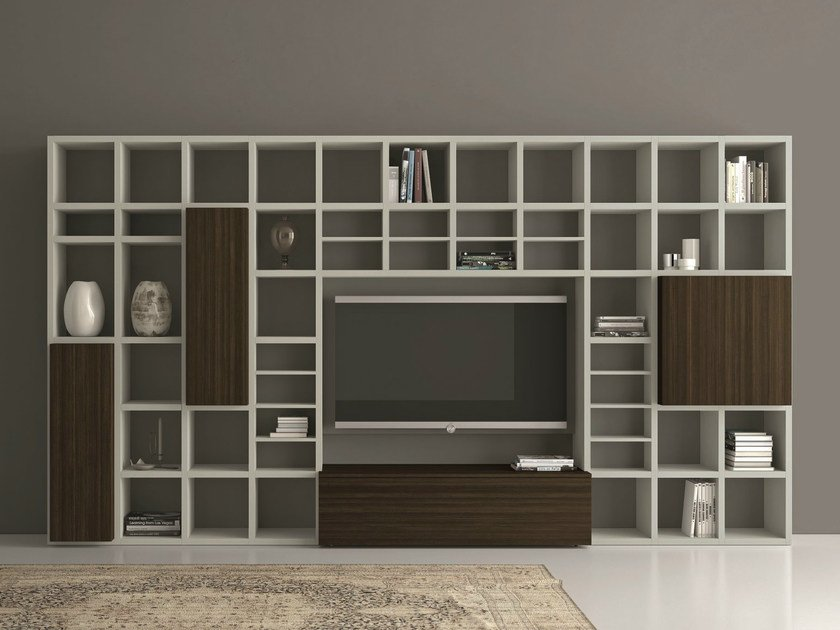 Open lacquered TV wall system SPEED 25 by Dall'Agnese