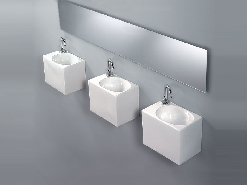 Rectangular wall-mounted handrinse basin BOX by A. e T. Italia