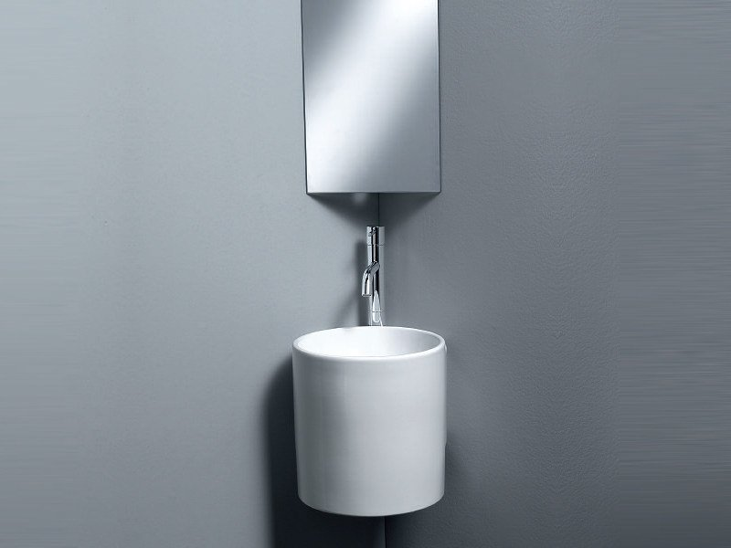 Wall-mounted handrinse basin round CYLINDER by A. e T. Italia