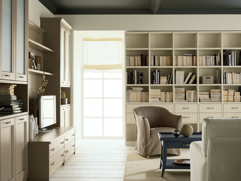 Spruce bookcase with drawers NUOVO MONDO N03 | Bookcase by Scandola Mobili